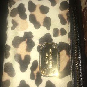 Authentic Cheetah Michael Kors Zipper Wallet